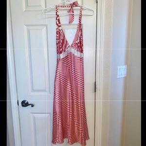 Poleci 100% Silk Halter Tie red white dress